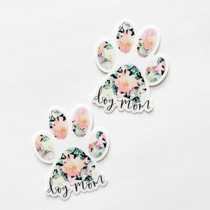 Dog Mom Black Floral Paw Print Sticker Decal