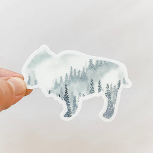 Bison Gray Forest Watercolor Sticker Decal