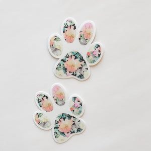 Paw Print Black Floral Sticker Decal