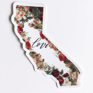 California State Love Floral Sticker Decal