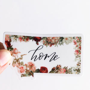Montana State Home Floral Decal Sticker