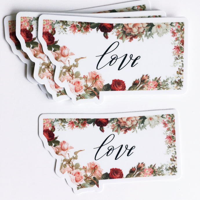 Decal -Montana State -Love Floral