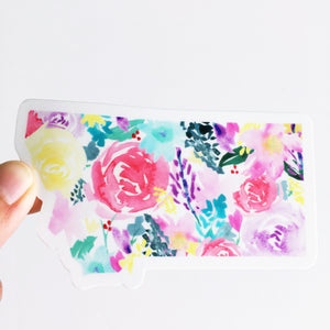 Decal -Montana State -Watercolor Bright Florals