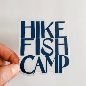 Hike Fish Camp Blue Sticker Decal