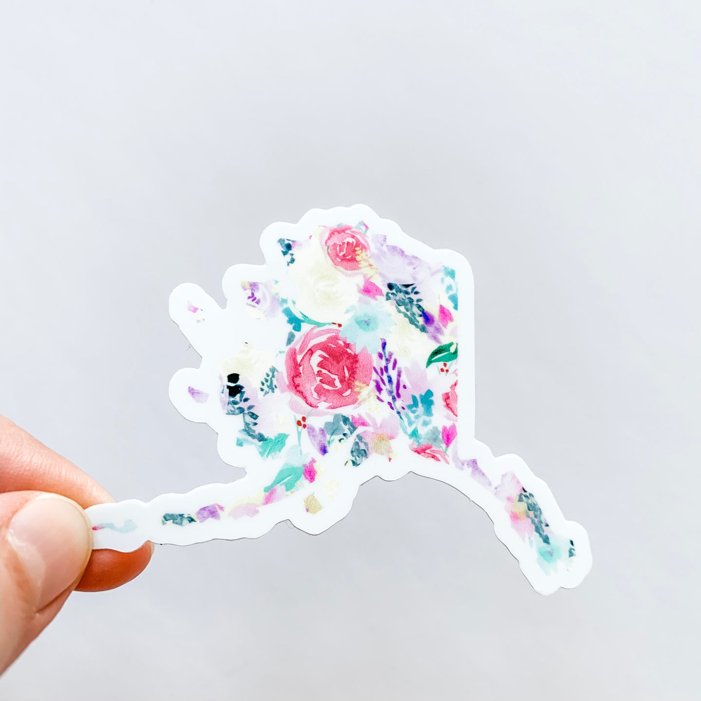 Alaska State Bright Floral Sticker Decal