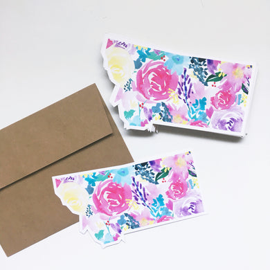 Notecard - Montana State - Watercolor Bright Florals