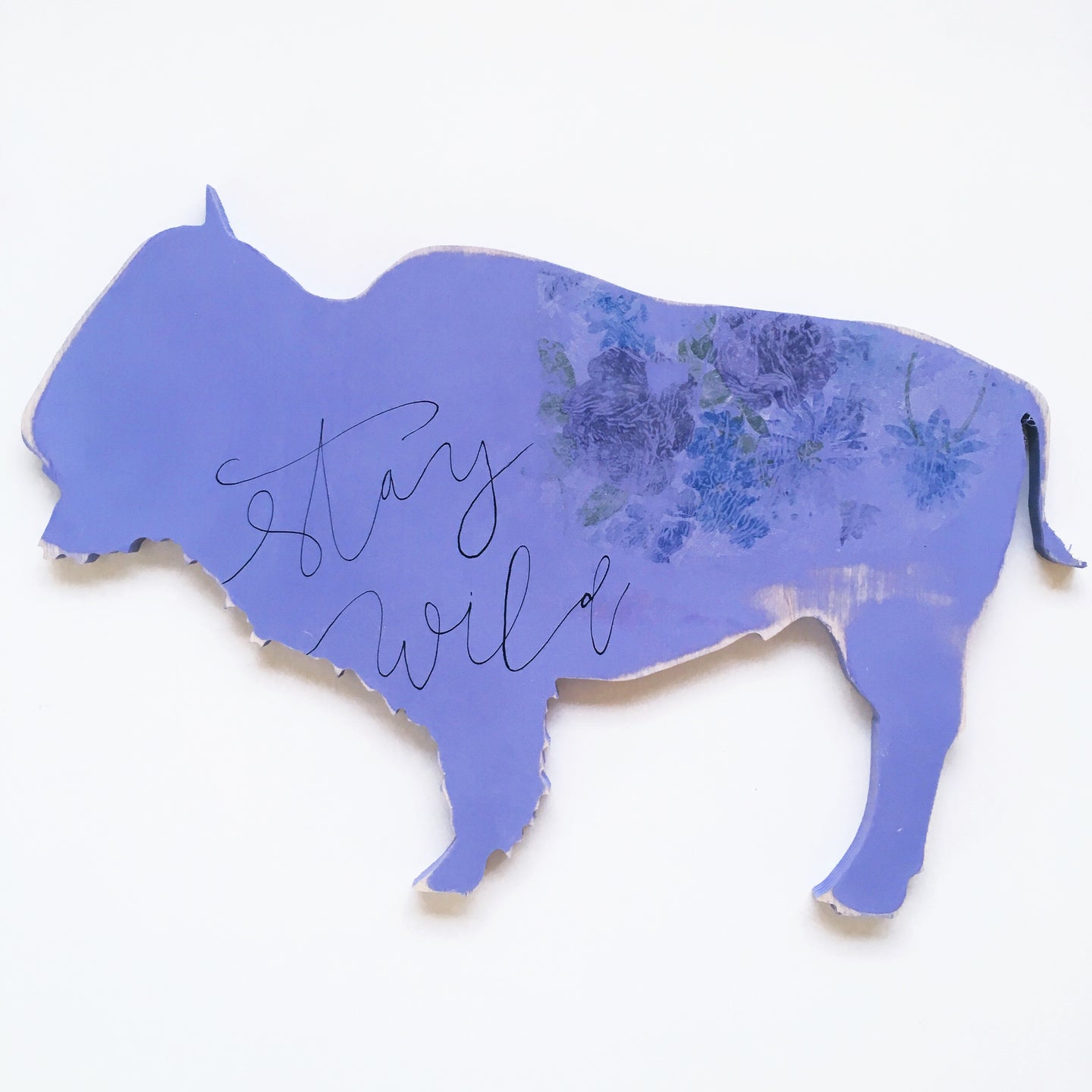 Wood Sign - Bison - Stay Wild Purple Flower