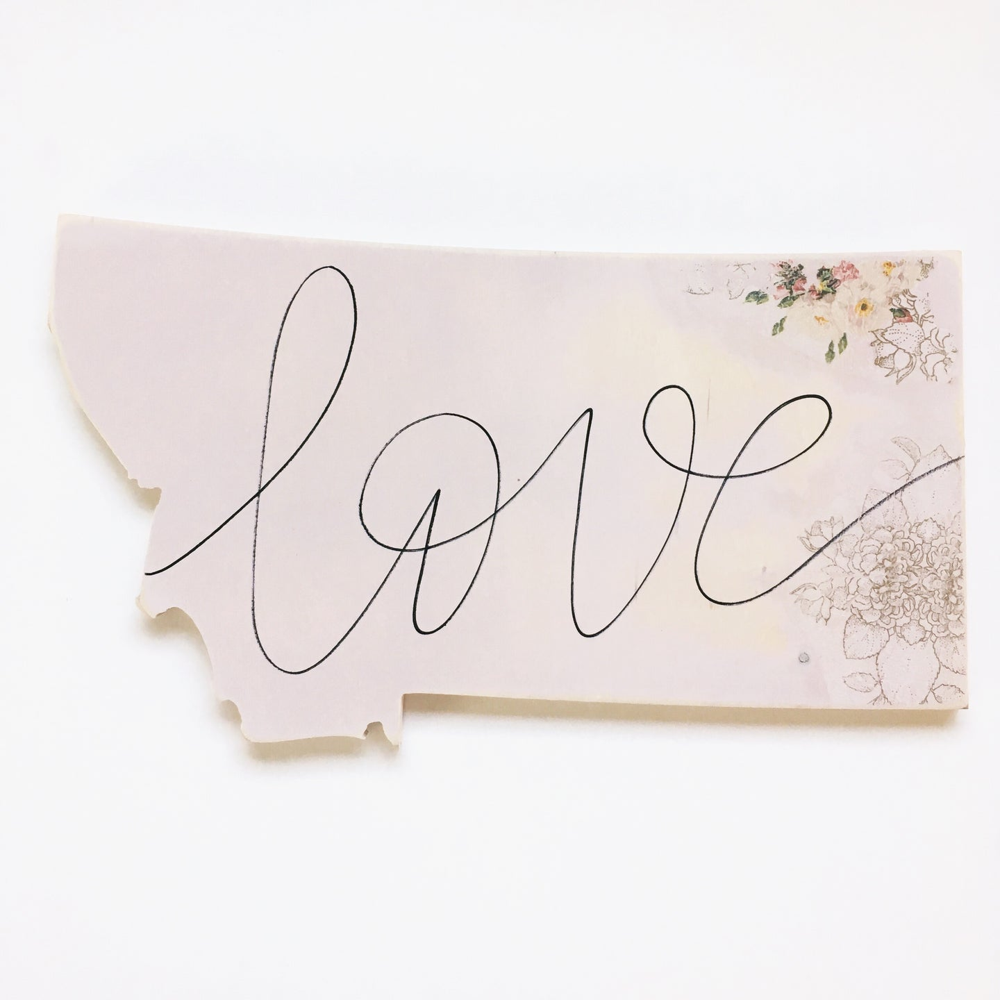 Wood Sign - Montana - Love Pink With Corner Florals