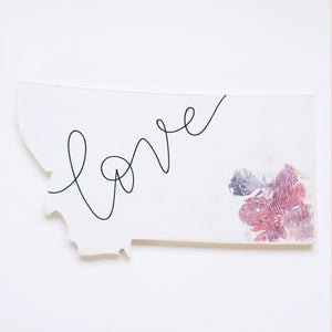 Wood Sign - Montana - Love White With Corner Florals
