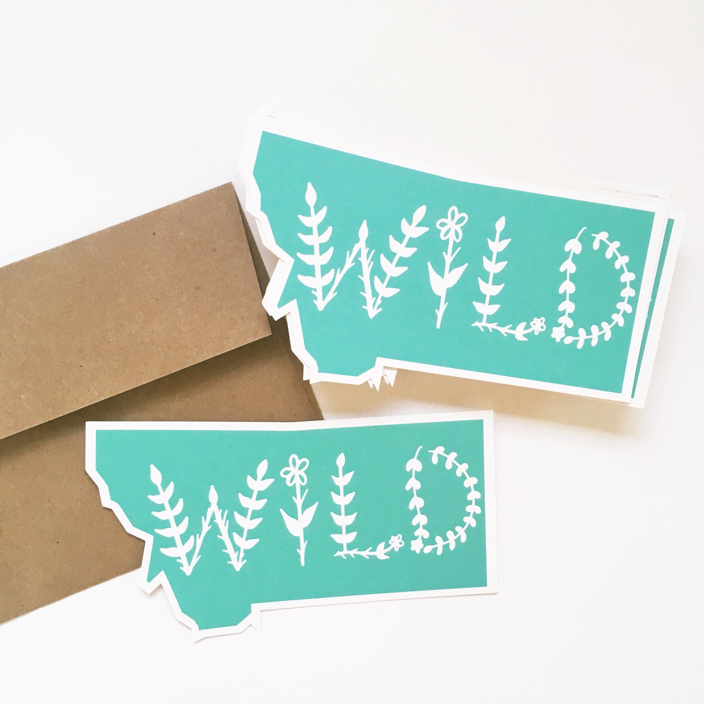 Notecard - Montana State - Wild in Mint Green
