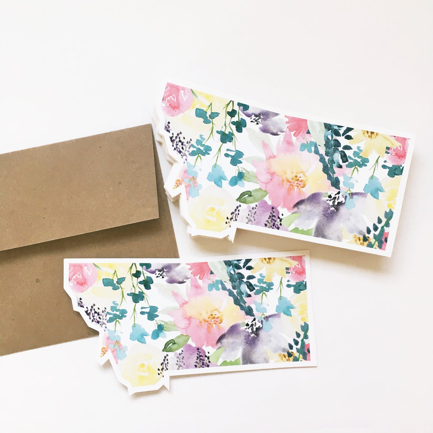 Notecard - Montana State - Watercolor Soft Florals