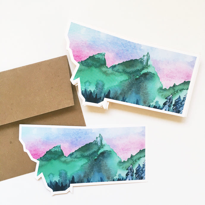 Notecard - Montana State - Watercolor Mountains