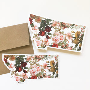 Notecard - Montana State - Vintage Floral
