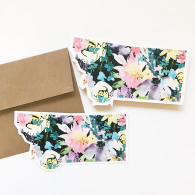 Notecard - Montana State - Watercolor Florals Black
