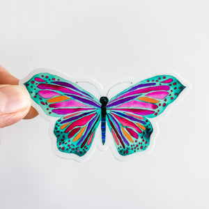 Watercolor Butterfly Green Purple Sticker Decal
