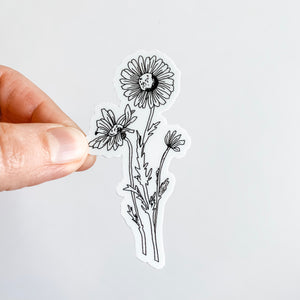 Daisy Black and White Flower Sticker Decal