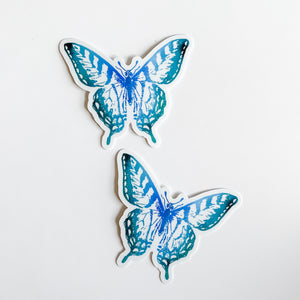Watercolor Butterfly Blue Teal Sticker Decal