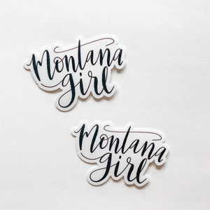 Montana Girl Hand Lettered Black Sticker Decal