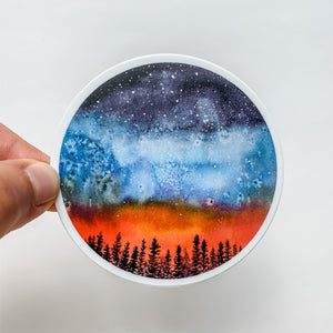 Forest Night Sky Sticker Decal