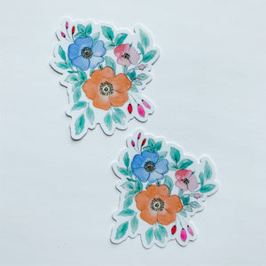 Watercolor Floral Trio Orange Blue Sticker Decal