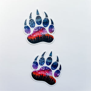 Grizzly Sunset Bear Paw Print Sticker Decal