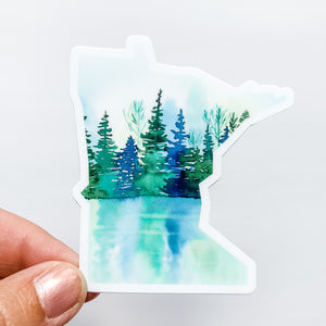Minnesota State Lake Reflection Sticker Decal