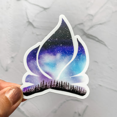 Campfire Purple Night Sky Sticker Decal