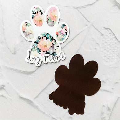 MAGNET Dog Mom Black Floral Paw Print