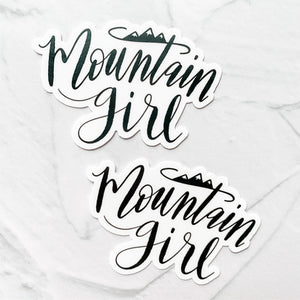 Mountain Girl Hand Lettered Black Sticker Decal