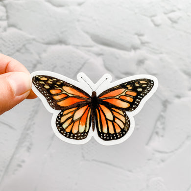Watercolor Monarch Butterfly Orange Sticker Decal
