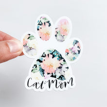 Cat Mom Black Floral Paw Print Sticker Decal