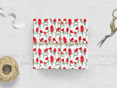 GIFT WRAP - Indian Paintbrush Flower Pattern - 3 Wrapping Paper Sheets