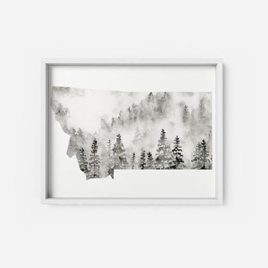 Art Print - Montana State - Watercolor Forest, Black
