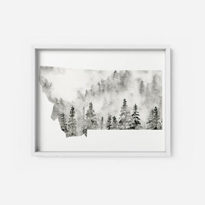 Montana State Art Print Watercolor Forest Black