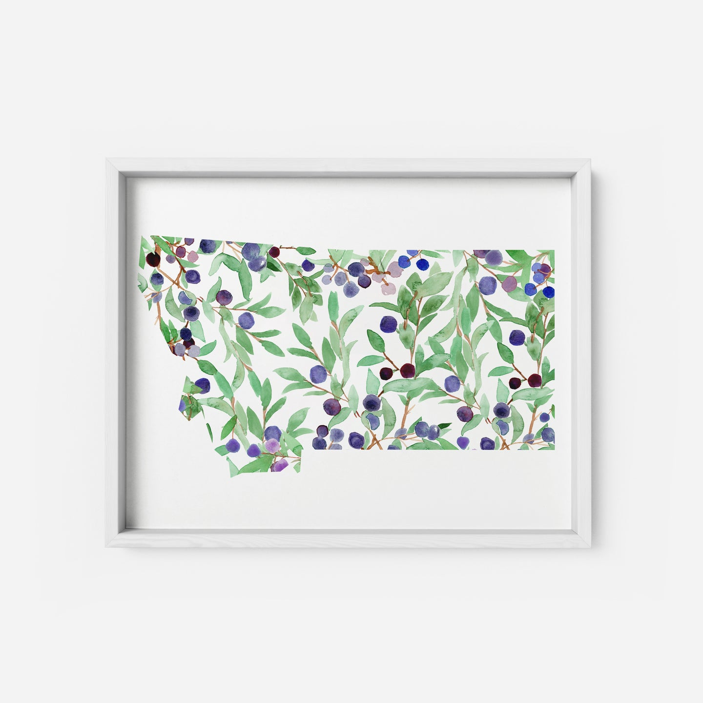 Art Print - Montana State - Watercolor Huckleberry
