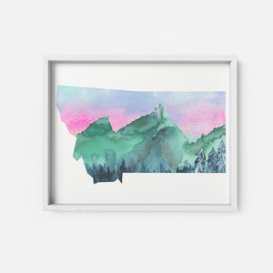 Montana Mountains State Art Print Watercolor