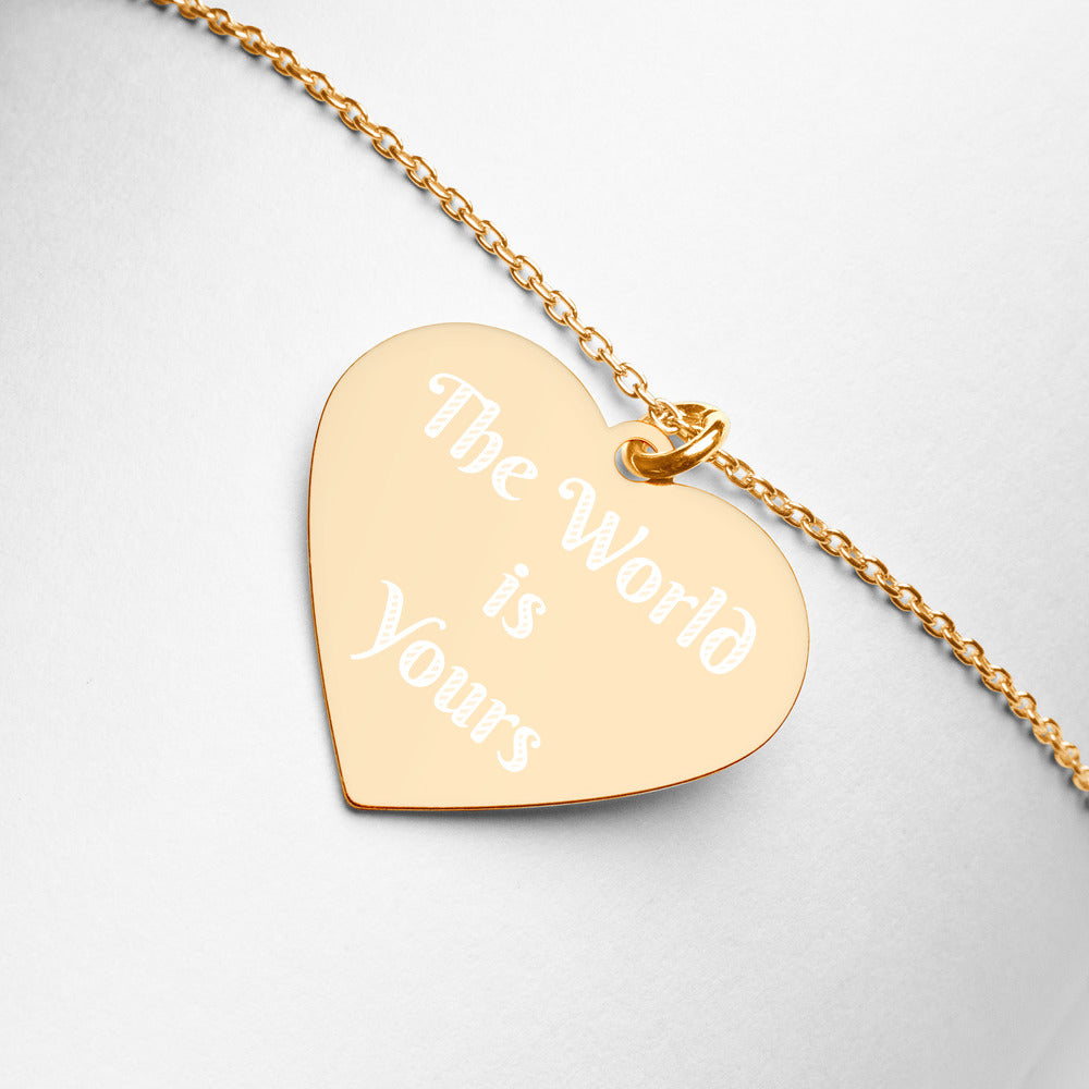The World is Yours | Engraved Heart Necklace
