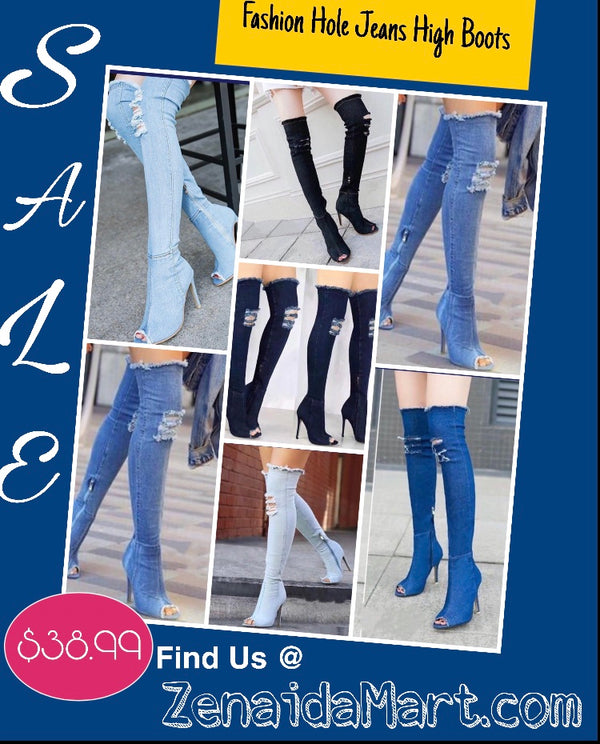 Fashion Jeans High Boots