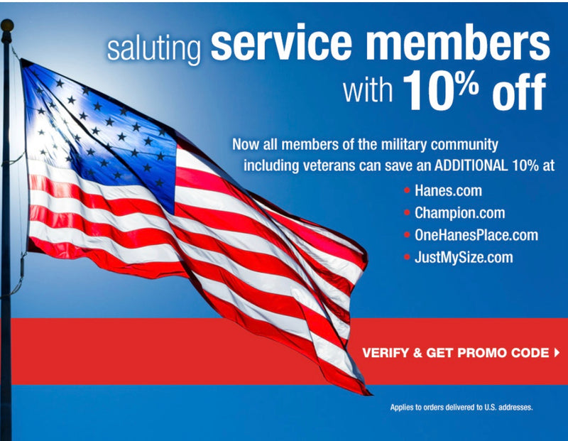 saluting service member with 10% off