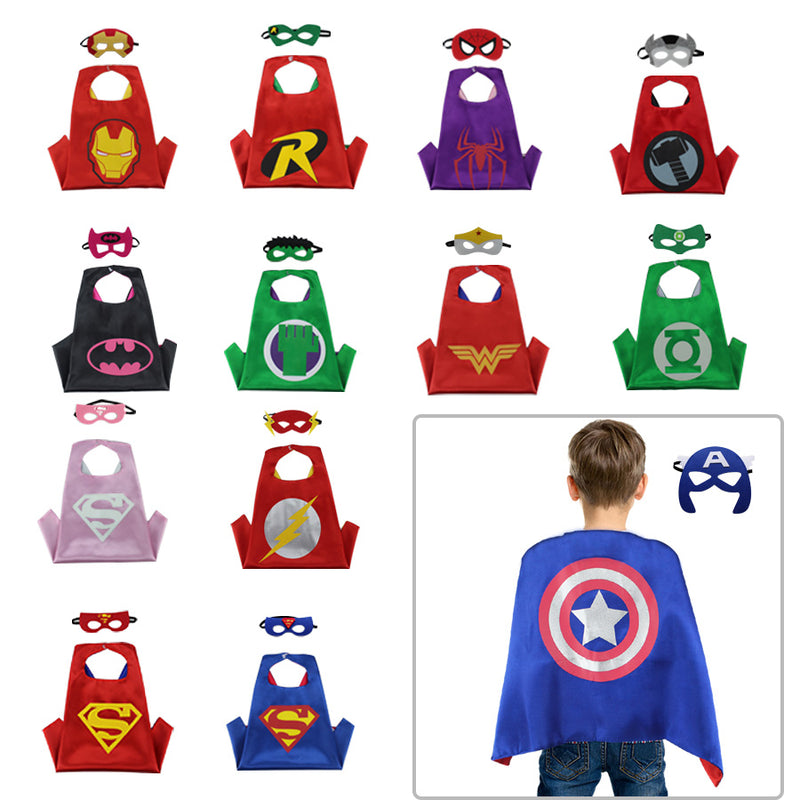 Reversible Toddler Superhero Costume Satin Capes with Felt Masks