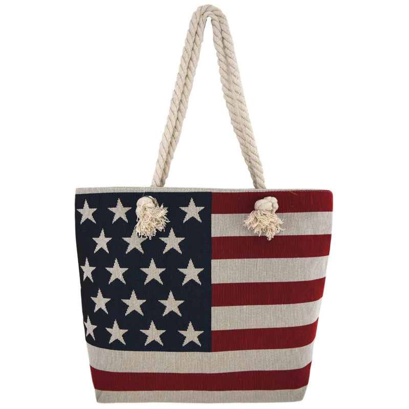Western Origin American Flag Embroidered Tote Bag Stars and Stripes Beach Bag