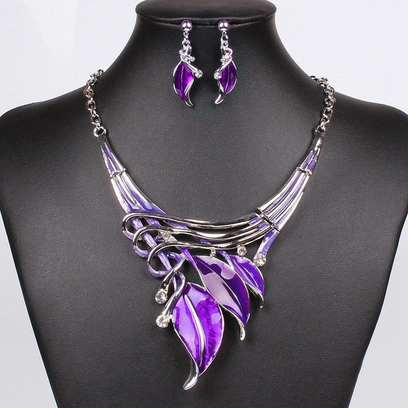 Moda Red Jewelry Sets Purple Enamel Jewelry statement Necklace And Earring Set
