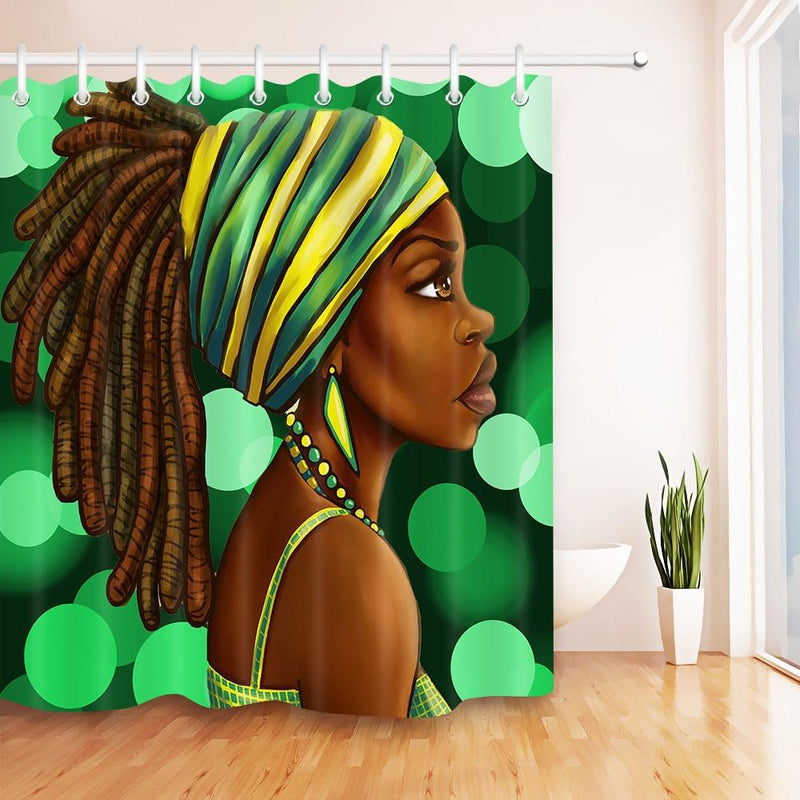 Afro Hairstyle Girl African American Woman Waterproof Shower bathroom Curtain  Curtains