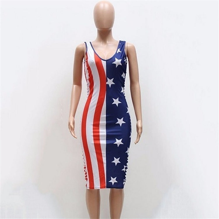 Stretchy Women Boho US Flag Stars Print Tube Strapless Beach Maxi Dress
