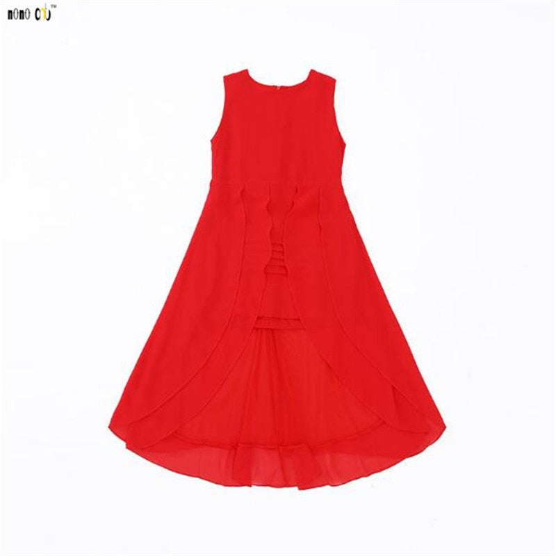 Big Girls Chiffon Dress Sleeveless Irregular Elegant Princess Party Dresses