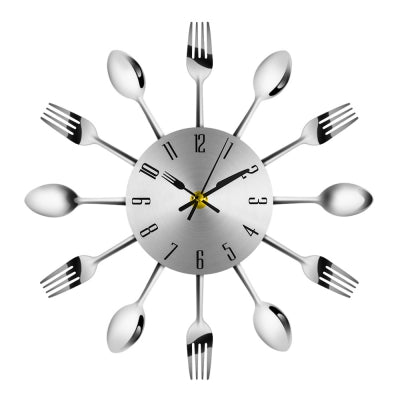 Knife Fork Spoon Analog Wall Clock Stainless Steel Home Decoration