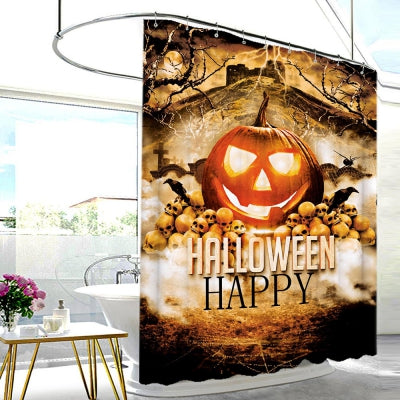 Halloween Pumpkin Skull Print Shower Curtain