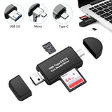 3 in 1 OTG Card Reader Type C USB Micro USB Combo to 2 Slot TF SD Card Reader