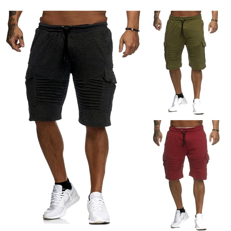 Spring and Summer Sports Shorts, Casual Pants Pocket Stripe Tarining Pants