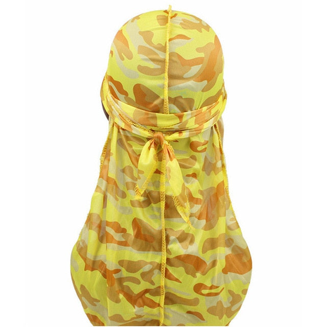 1PC Fashion Camo Comfortable Headwear Men's Silky Elastic Turban Print Bandana